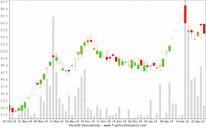 Daily Candlestick Chart for Flexituff International
