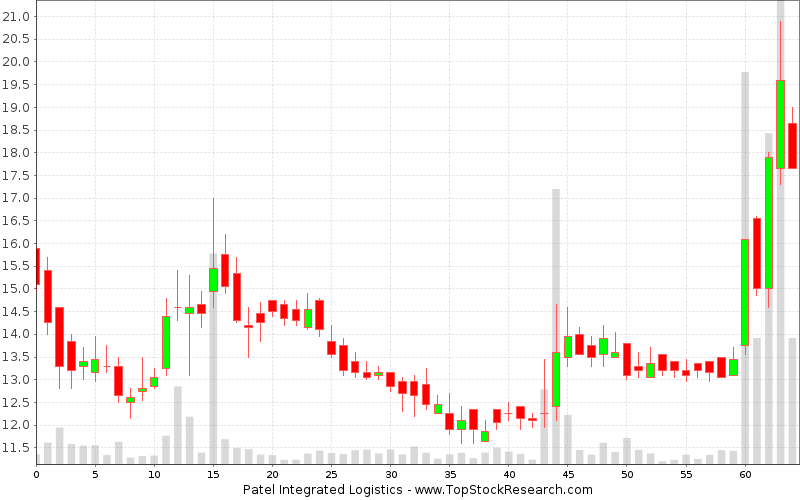 Daily Candlestick Chart for Patel Integrated Logistics