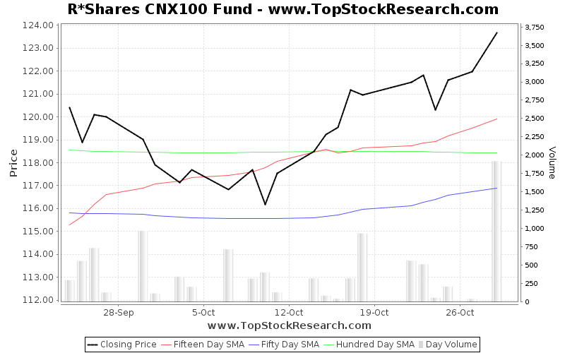 OneMonth Chart for R Shares CNX100 Fund