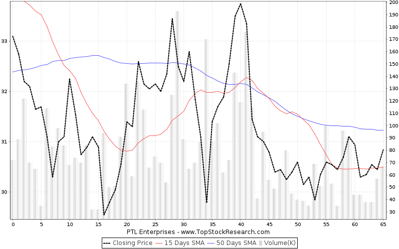 ThreeMonths Chart for PTL Enterprises