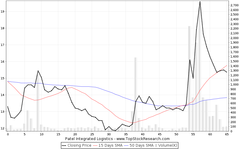 ThreeMonths Chart for Patel Integrated Logistics