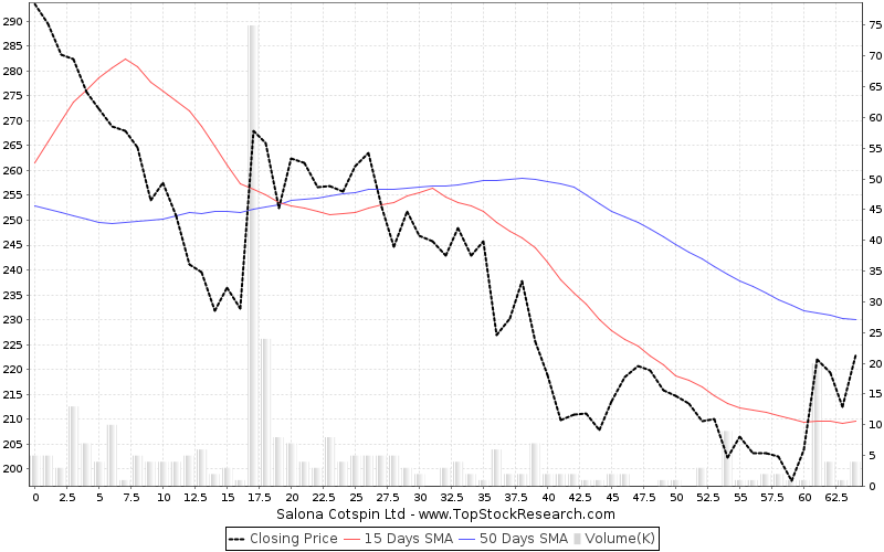 ThreeMonths Chart for Salona Cotspin Ltd